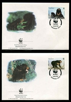 Lot 25182 [3 of 3]:1994 Sun Bear SG #1396-9 MUH set on WWF pages giving details of this threaten species comes together with set on WWF illustrated FDCs, unaddressed nice lot.