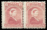 Lot 26676:1868-73 Perf 12 SG #39 6c rose QV pair.