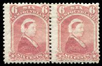 Lot 4449:1868-73 Perf 12 SG #39 6c rose QV pair.