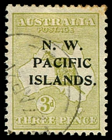 Lot 3982:1915-16 Kangaroos 3rd Wmk SG #109a 3d greenish olive Die II, few toned perfs.
