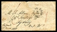 Lot 969 [1 of 2]:1855 Stampless Cover from England to Sydney with Paid at Bristol handstamp in black and manuscript '6' in red backstamped Liverpool spoon cancel MR2 1855 and Ship Letter Sydney receiving handstamp MY 19 1855, a bit grubby.