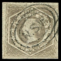 Lot 1056:1854-59 Imperf Large Diadems Wmk Double-Lined Numeral SG #96a 6d greyish brown wmk 8, 4 margins good to large.