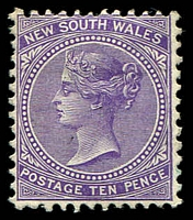 Lot 5824:1899 Chalk-Surfaced Paper Wmk 2nd Crown/NSW Perf 12x11½ SG #310 10d violet