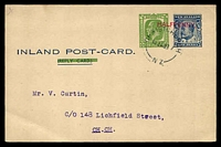 Lot 4188:1932 ½d KGV & ½d KEVII HG #32 with barred out Reply Card, used in 1933.