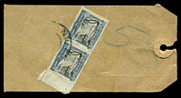 Lot 4195:1940s Commercial Bank of Australia parcel tag with 2½d pictorial pair tied by partial Niue cds.