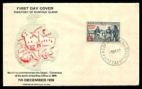 Lot 4462 [2 of 2]:1959 Birth of Post Office illustrated FDC with 5d tied by Norfolk Island cds 7DE59, unaddressed.