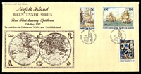 Lot 4126:1987 Bicentenary of Norfolk Island set tied to illustrated FDC by Norfolk Island cds 12 MAY 1987, unaddressed.