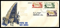Lot 4525:1962 South Pacific Conference set tied to illustrated FDC by Lae cds 9JY 62.