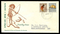 Lot 4490:1963 Fauna 5d & 6d tied to illustrated FDC by Port Moresby cds 27MR63.