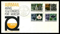 Lot 24118:1970 ANZAAS set tied to illustrated FDC by Port Moresby cds 19 8 70, unaddressed.