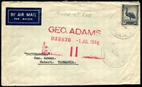 Lot 26618:1946 Air Mail cover to Tasmania with Australian 5½d Emu tied by Lae cds 6JE46.