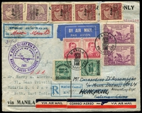 Lot 4249 [1 of 2]:1937 Manila-Macao-Hongkong Registered cover with Philippine and Macau adhesives tied by 28 Apr 1937 cancels with First Flight cachet in violet at left and backstamped Victoria Hong Kong 28 AP 37.