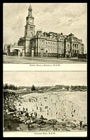 Lot 62:Australia - New South Wales: Black & white PPC with dual scenes 'Town Hall Sydney NSW & Coogee Bay NSW'.