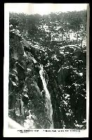 Lot 3042:Mount Buffalo Chalet: - black & white PPC 'The Gorge Falls Mt Buffalo', real photo, unused.  Renamed from Mount Buffalo RO 22/8/1910; PO 1/2/1914; closed 24/6/1986.