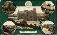Lot 81:Australia - Victoria: Multicoloured PPC 'Greetings from Victoria' with scenes of St Patricks, Exhibition Buildings, Princes Bridge etc.