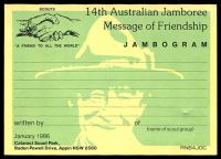 Lot 365:Australia - Scouting: 1986 14th Australian Jamboree illustrated Jambogram card fine unused.