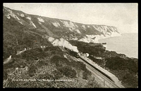 Lot 521:Great Britain: Black & white PPC 'Folkestone The Warren, showing Halt' with Steam train pulling into station in foreground.