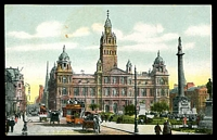 Lot 575:Scotland: multicoloured PPC 'Municipal Buildings Glasgow' with tram in foreground.