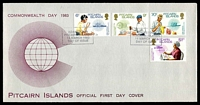 Lot 4340:1983 Commonwealth Day set tied to illustrated FDC by Adamstown cancel 14 March 1983, unaddressed.