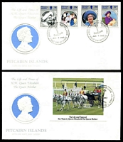 Lot 4184:1985 Life and Times of the Queen Mother set & M/Sheet tied to two illustrated FDCs by Adamstown cds Jun 7 1985, unaddressed. (2)