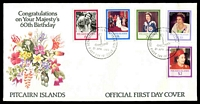 Lot 4095:1986 60th Birthday of QEII set tied to illustrated FDC by Adamstown cds 21 APR 1986, unaddressed.