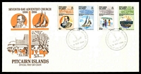 Lot 4343:1986 Centenary of Seventh Day Adventist Church set tied to illustrated FDC by Adamstown cds 18 OCT 1986, unaddressed.