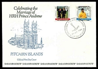 Lot 4342:1986 Marriage of Prince Andrew set tied to illustrated FDC by Adamstown cds 23 JLY 1986, unaddressed.