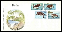 Lot 27443:1986 Turtles set tied to illustrated FDC by Adamstown cds 12 FEB 1986, unaddressed.