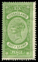 Lot 7586:1892 Long Type F18 6d green with light gum crease.