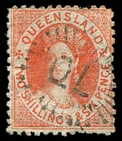 Lot 1393:1880 Small Chalon Litho Wmk 2nd Crown/Q Perf 12 SG #121 2/6d dull scarlet.