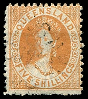 Lot 1497:1880 Small Chalon Litho Wmk 2nd Crown/Q Perf 12 SG #124 5/- yellow ochre.