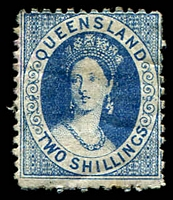 Lot 7864:1880 Small Chalon Litho Wmk 2nd Crown/Q Perf 12 SG #120 2/- deep blue, part OG.
