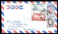 Lot 4291:1967 Defins set of 4 tied to Airmail cover to Australia by Ross Dependency FDC 10 JULY 1967, scarce FDC.
