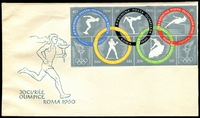 Lot 4280:1960 Olympic Games Imperf M/sheet tied to illustrated FDC by faint Bucuresti special Olympic cancel, unaddressed.