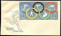 Lot 4281:1960 Olympic Games Perf M/sheet tied to illustrated FDC by light Bucuresti special Olympic cancel, unaddressed.