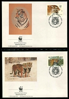 Lot 27730 [2 of 3]:1993 Siberian Tiger SG #6443-6 UH set on WWF pages giving details of this threaten species comes together with set on WWF illustrated FDCs, unaddressed .