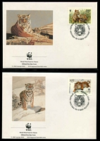 Lot 27730 [3 of 3]:1993 Siberian Tiger SG #6443-6 UH set on WWF pages giving details of this threaten species comes together with set on WWF illustrated FDCs, unaddressed .