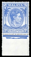 Lot 27997:1948-52 KGVI Defins Perf 17½x18 SG #24a 20c bright blue marginal single.