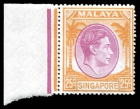 Lot 4361:1948-52 KGVI Defins Perf 17½x18 SG #25 25c purple & orangevmarginal single.