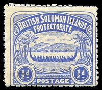 Lot 27462:1907 Large Canoes SG #1 ½d ultramarine.