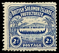 Lot 4616:1907 Large Canoes SG #3 2d indigo.