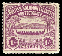 Lot 4315:1907 Large Canoes SG #7 1/- bright purple, part gum.