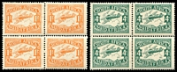 Lot 4643:1929 Airs SG #40-1 4d & 1/- in blocks of 4 fine mint.