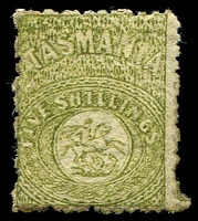 Lot 10342:1863-80 Wmk Doubled Line '1' F24 5/- sage-green perf 11½, scarce mint.