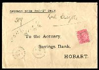 Lot 8817:1884 cover to Hobart with printed SAVINGS BANK PACKET ONLY with 1d QV sideface tied by numeral cancel and New Norfolk cds 11AU 1884 at lower left.