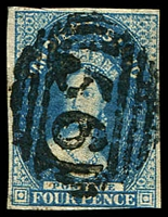 Lot 1349:1855 Imperf Chalon Wmk Large Star SG #17 4d deep blue, with four clear margins cncelled with bold strike of 56, Cat £110.