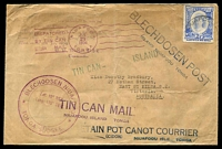 Lot 4452 [1 of 2]:1936 Tin Can Mail cover to Australia with multitude of handstamps cancelled Niuafoou Jul21 1936.