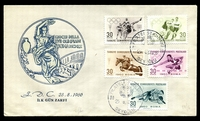 Lot 4749:1960 Olympic Games set tied to illustrated FDC by Beyoglo cds 25 8 60, unaddressed.