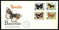 Lot 28488:1981 Butterflies set tied to illustrated FDC by Funafuti cds 3 FEB 1981, unaddressed.