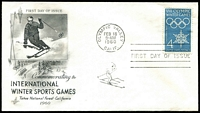 Lot 4485:1960 Winter Olympics 4c blue tied to illustrated FDC by special cancel, unaddressed.